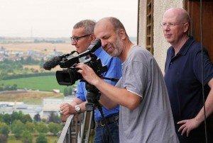 Peter Wilke, Andreas Lehmann & Rainer Wälde auf dem Turm der Stadtkirche